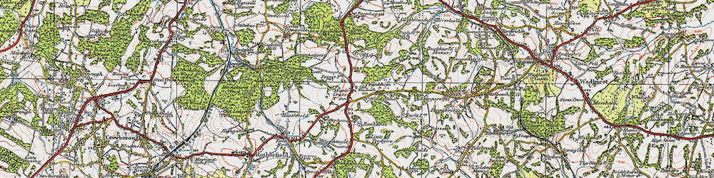 Old map of Mark Cross in 1920