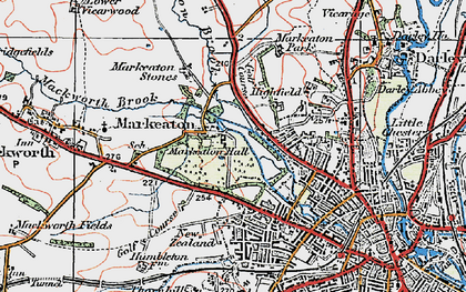 Old map of Markeaton in 1921
