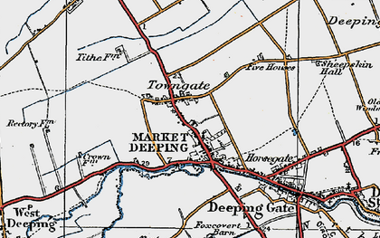Old map of Market Deeping in 1922