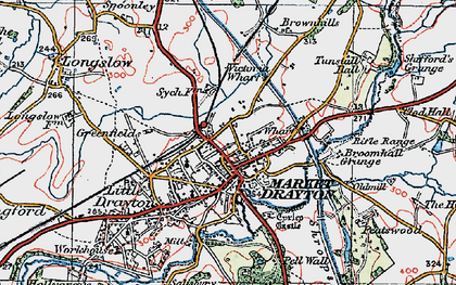 Old map of Market Drayton in 1921