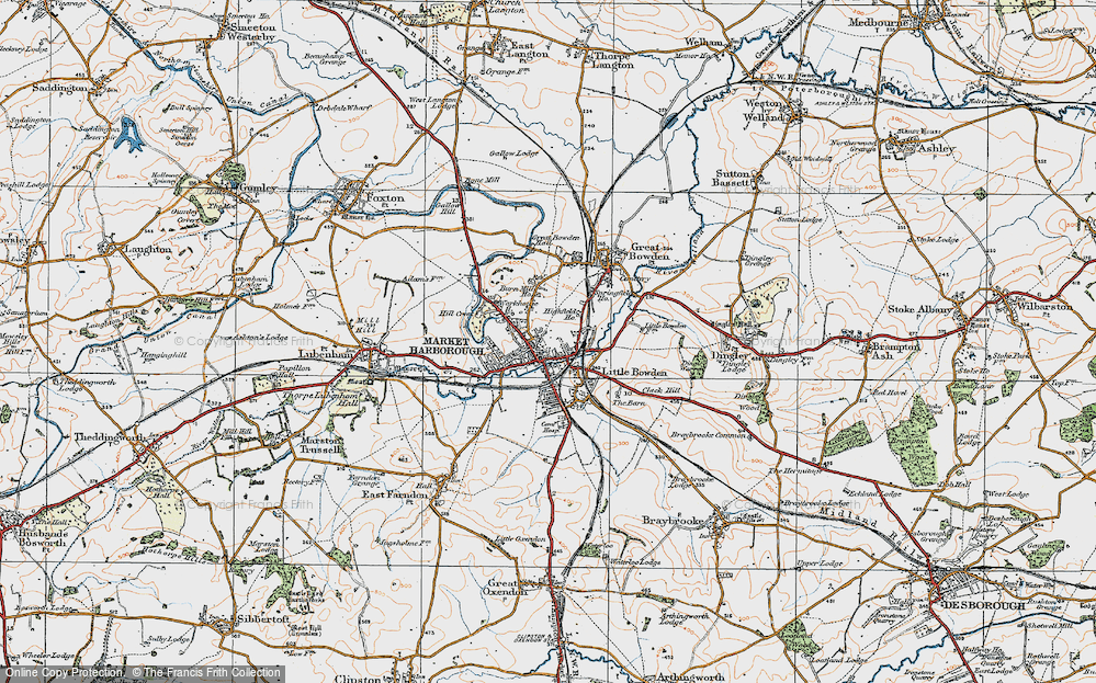 Old Map of Market Harborough, 1920 in 1920