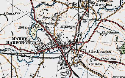 Old map of Market Harborough in 1920