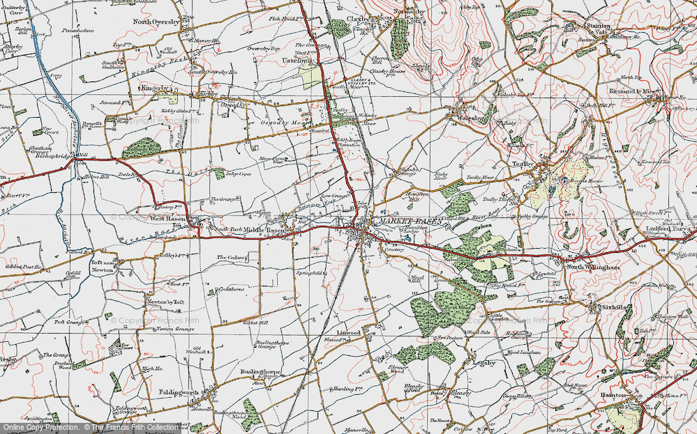 Old Map of Historic Map covering Woodlands in 1923
