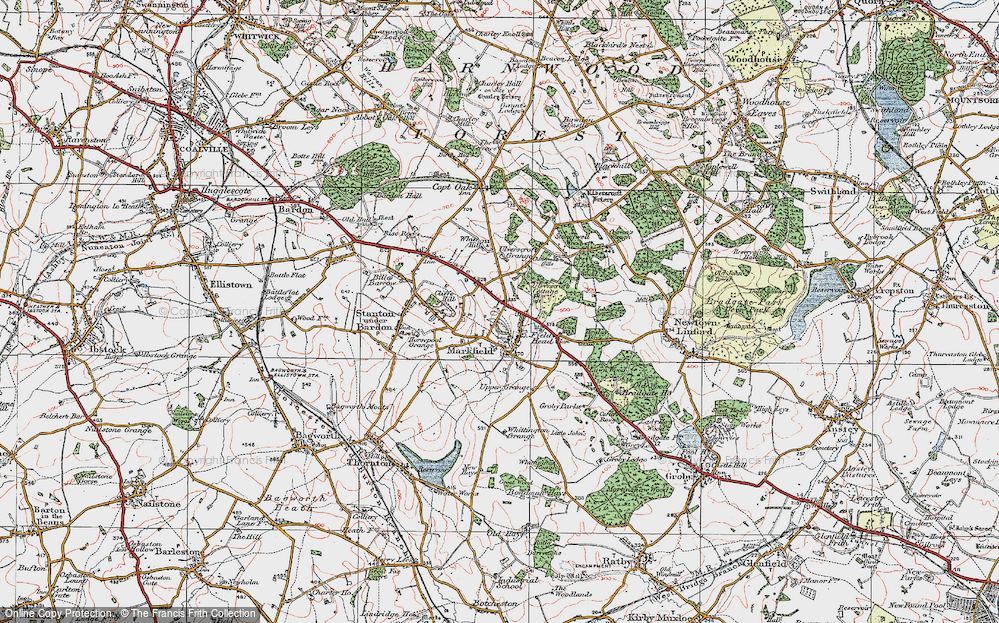 Old Map of Historic Map covering White Hill in 1921