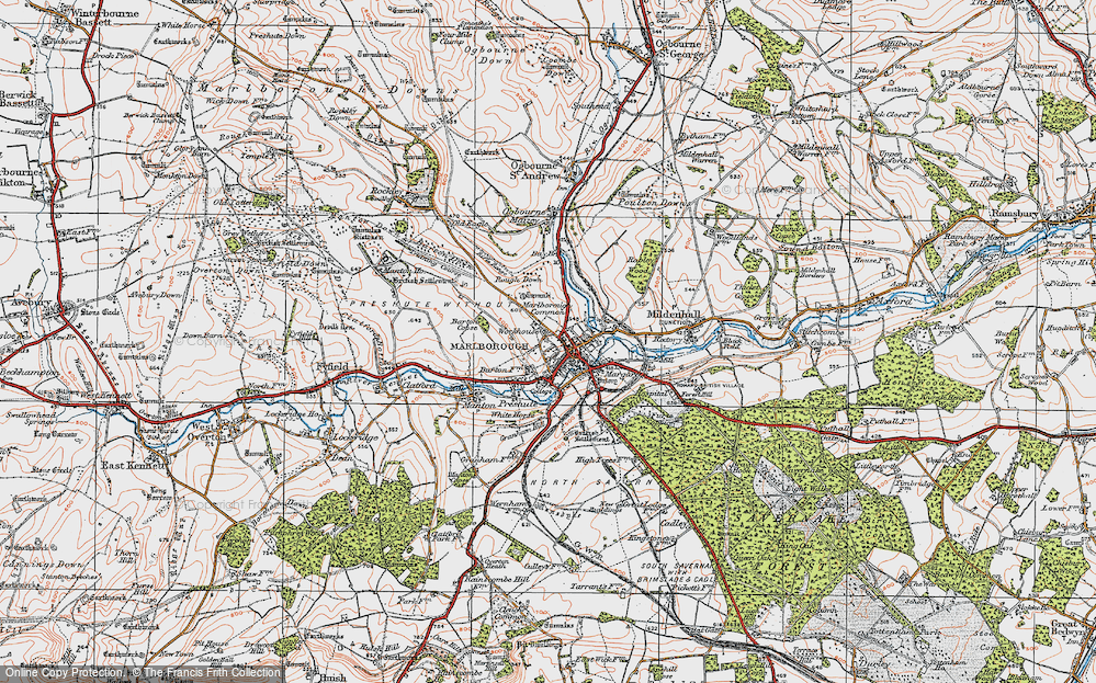 Old Map of Marlborough, 1919 in 1919