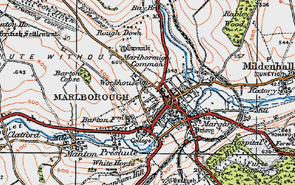 Old map of Marlborough in 1919