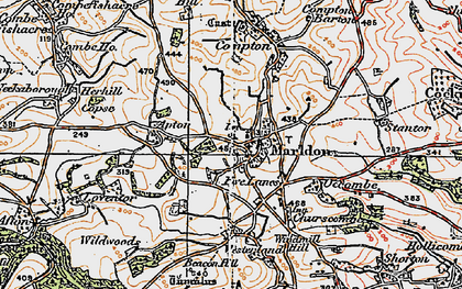 Old map of Marldon in 1919