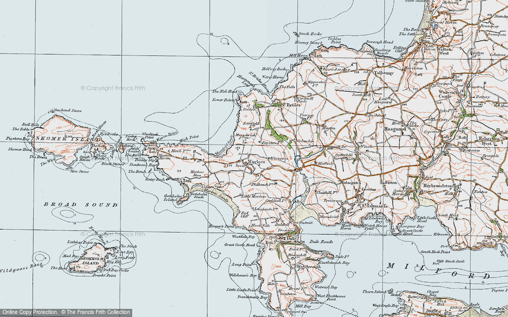 Old Map of Historic Map covering Albion Sands in 1922
