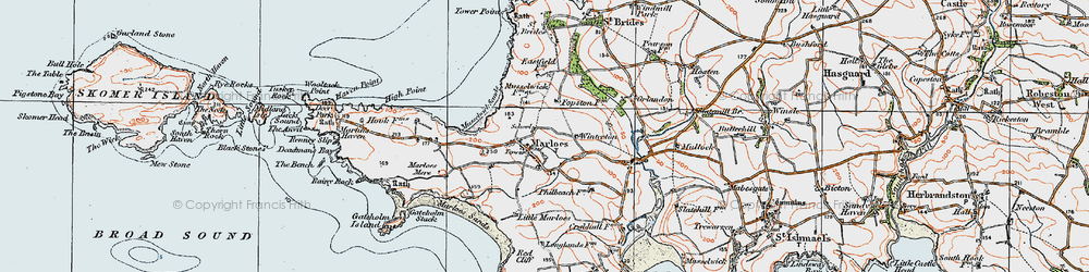 Old map of Albion Sands in 1922