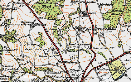 Old map of Marlow Bottom in 1919