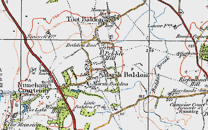 Old map of Baldon Brook in 1919