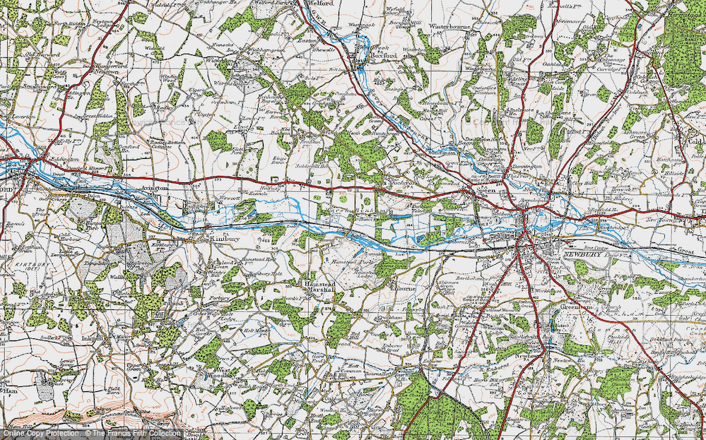 Old Map of Historic Map covering Benham Park in 1919