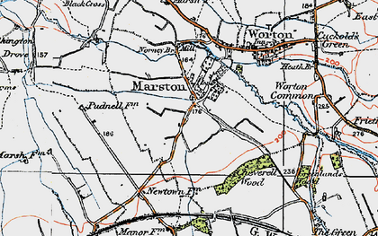 Old map of Worton Common in 1919