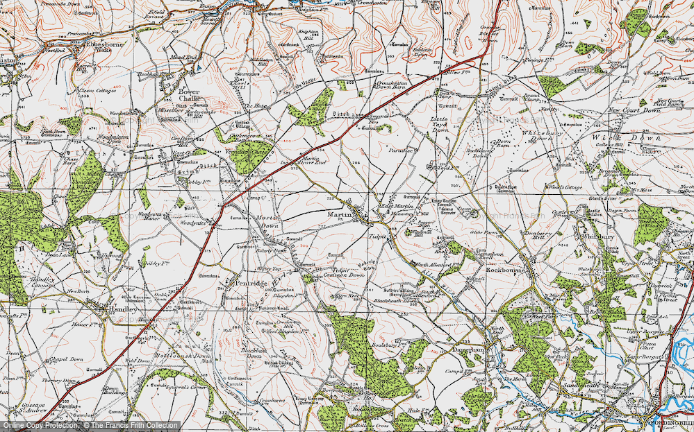 Old Map of Historic Map covering Tidpit Common Down in 1919
