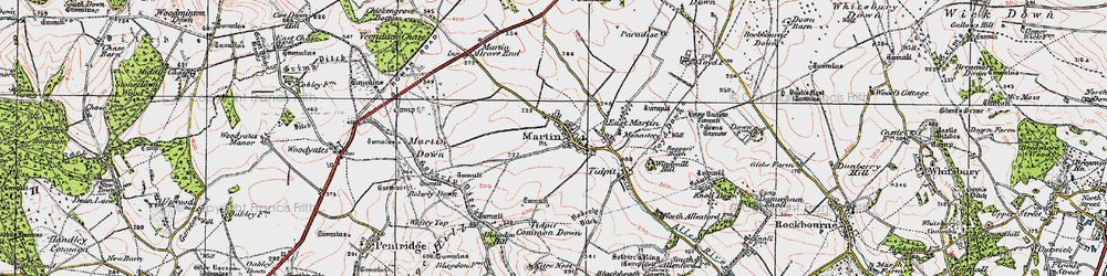 Old map of Tidpit Common Down in 1919