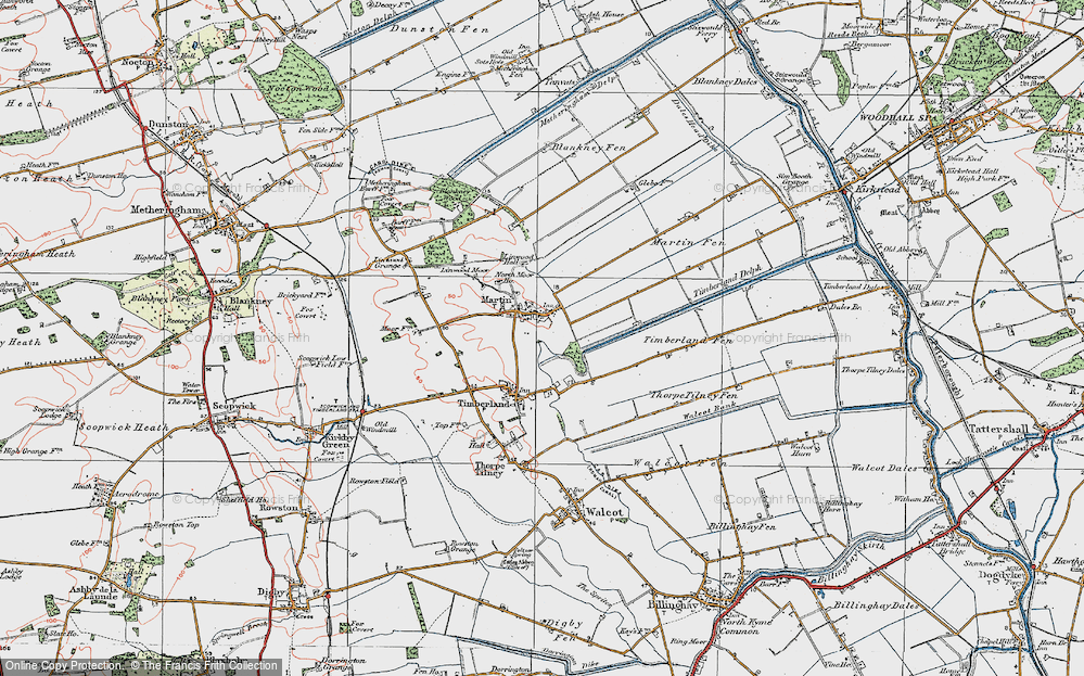 Old Map of Historic Map covering Linwood Moor in 1923