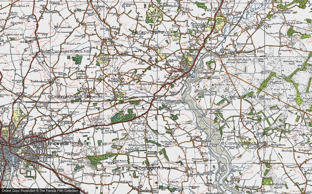 Old Map of Martlesham, 1921 in 1921