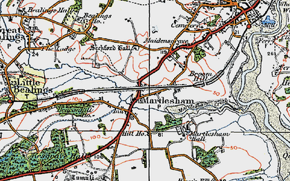 Old map of Martlesham in 1921