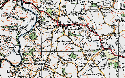 Old map of Martley in 1920