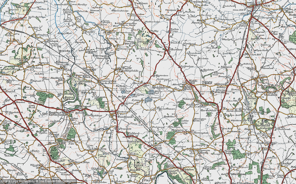 Old Map of Historic Map covering Fenemere in 1921