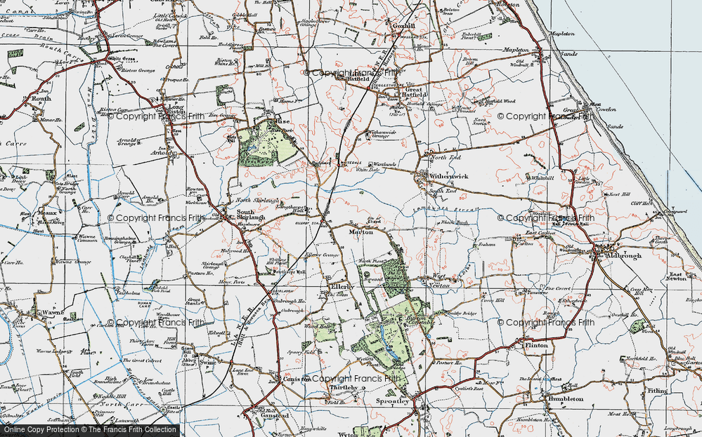 Old Map of Marton, 1924 in 1924