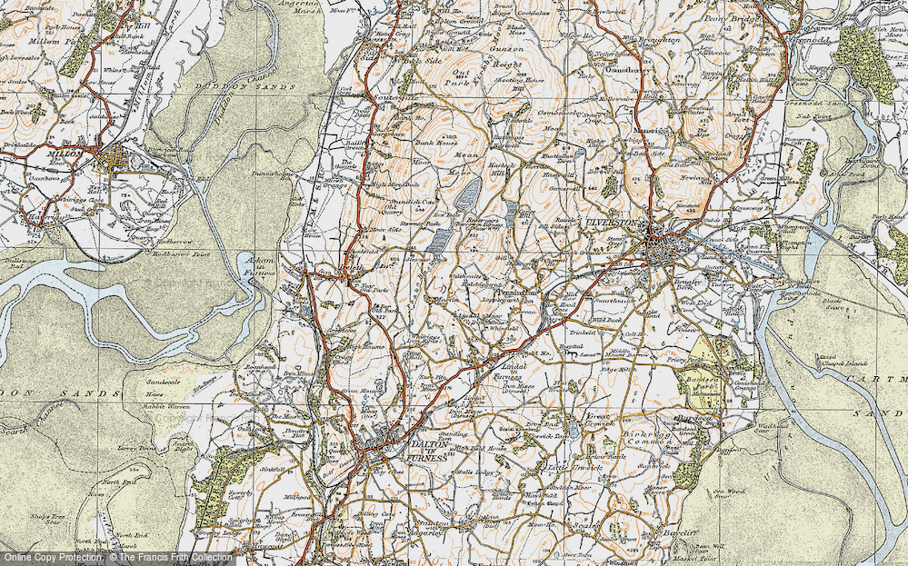 Old Map of Historic Map covering Lindal Moor in 1925