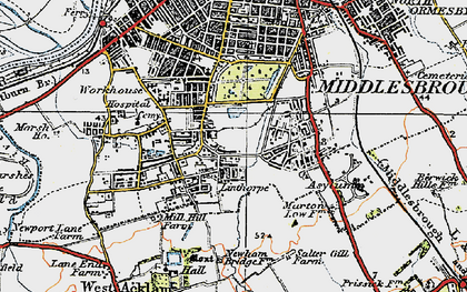 Old map of Marton Grove in 1925