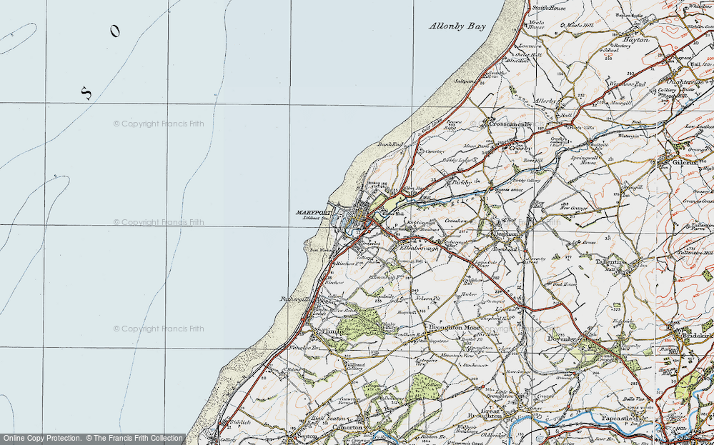 Old Map of Historic Map covering Alavna Roman Fort in 1925