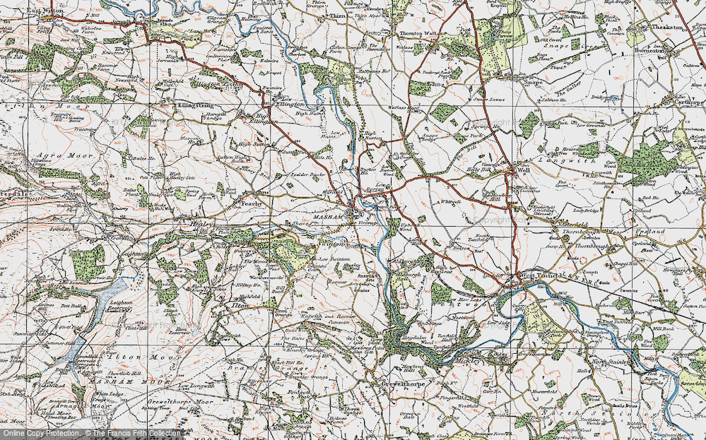 Old Map of Historic Map covering Aldburgh Hall in 1925