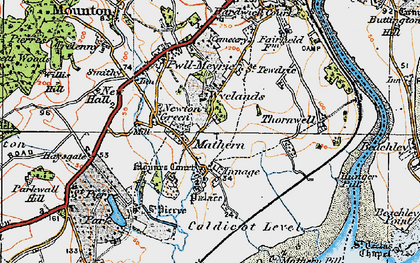 Old map of Mathern in 1919