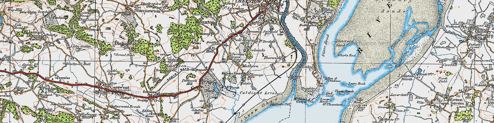 Old map of Wyelands in 1919