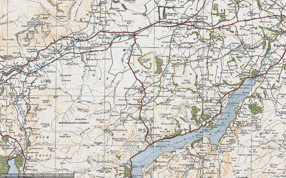 Old Map of Historic Map covering Bald Howe in 1925