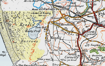 Old map of Mawdlam in 1922