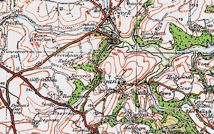 Old map of Mawgan in 1919