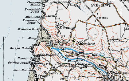 Old map of Mawgan Porth in 1919