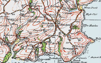 Old map of Mawnan Smith in 1919