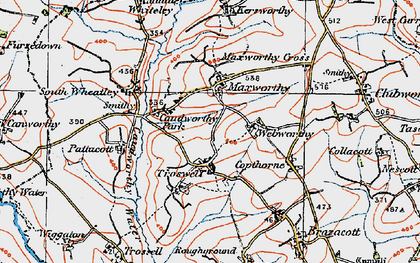 Old map of Maxworthy in 1919