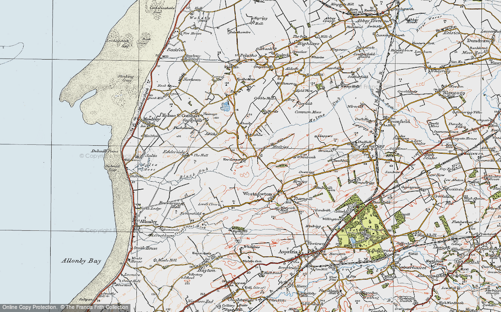 Old Map of Historic Map covering Aikshaw in 1925
