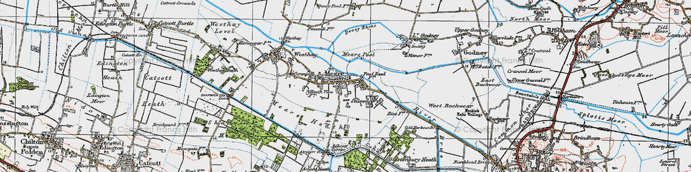 Old map of Meare in 1919