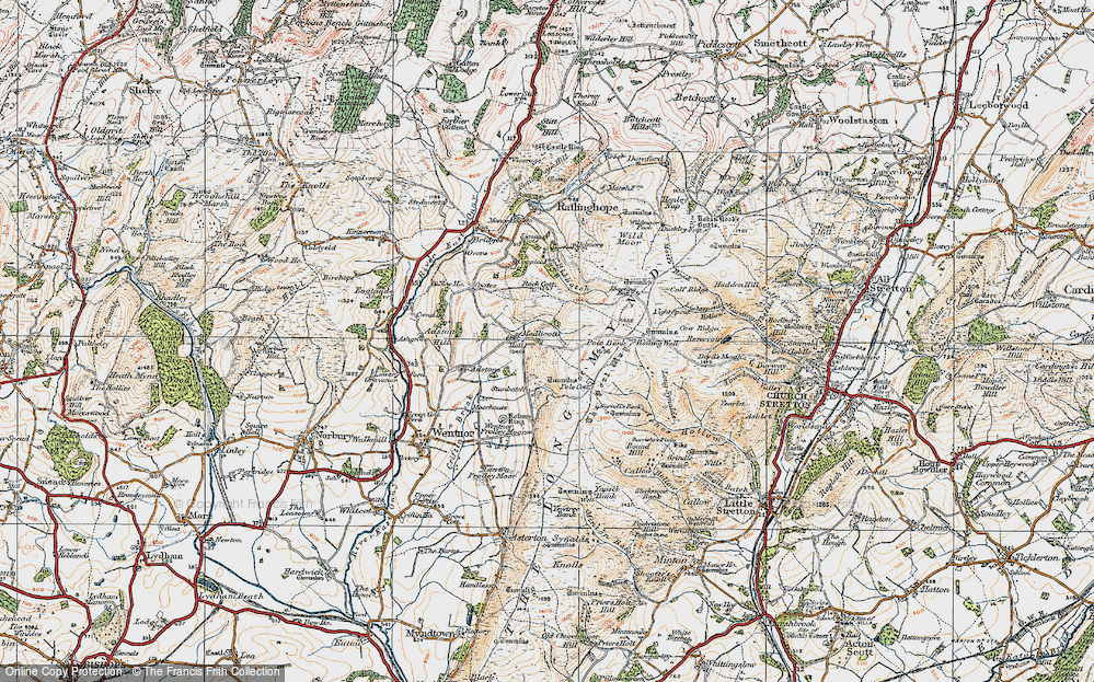 Old Map of Historic Map covering Adstone Hill in 1921