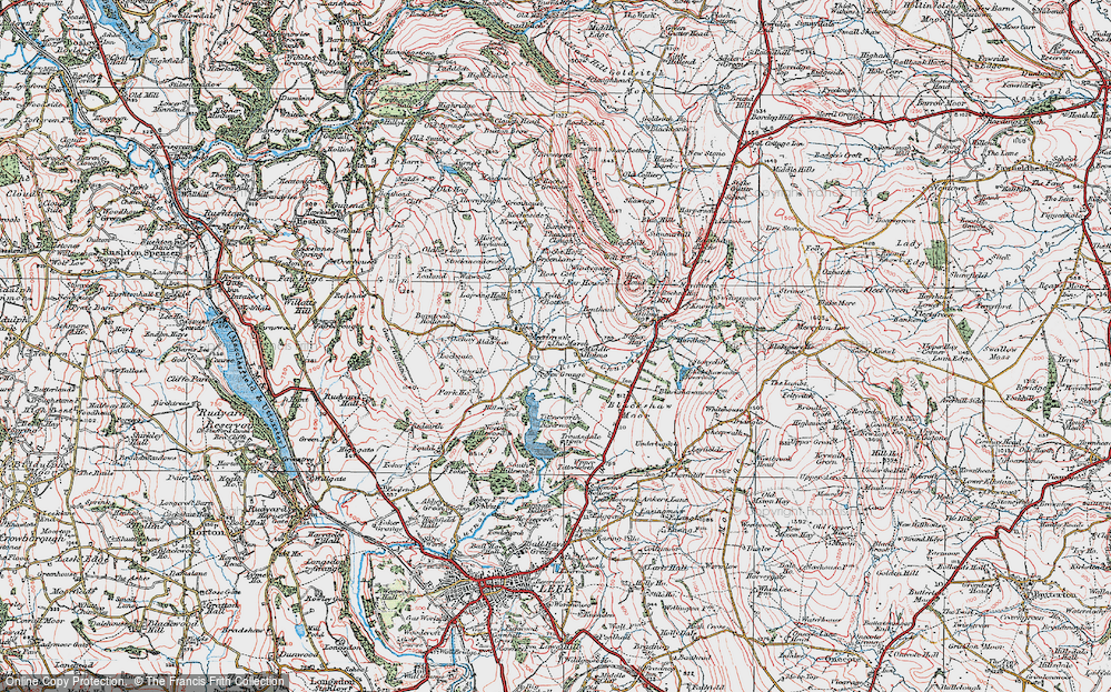 Old Map of Historic Map covering Alder Lee in 1923
