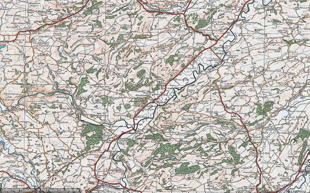 Old Map of Historic Map covering Alltfawr in 1921