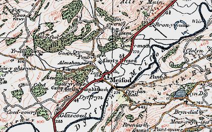 Old map of Meifod in 1921