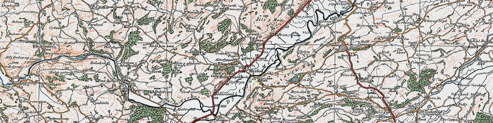 Old map of Meifod in 1921