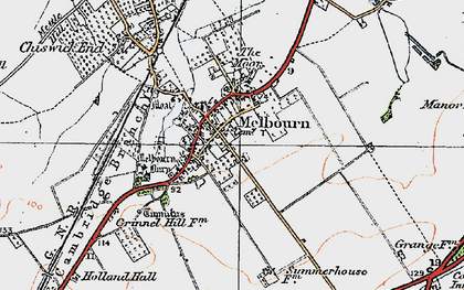 Old map of Melbourn in 1920