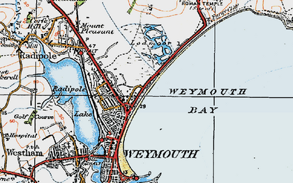 Old map of Weymouth Bay in 1919