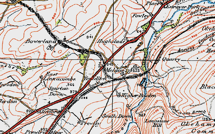 Old map of West Okement River in 1919