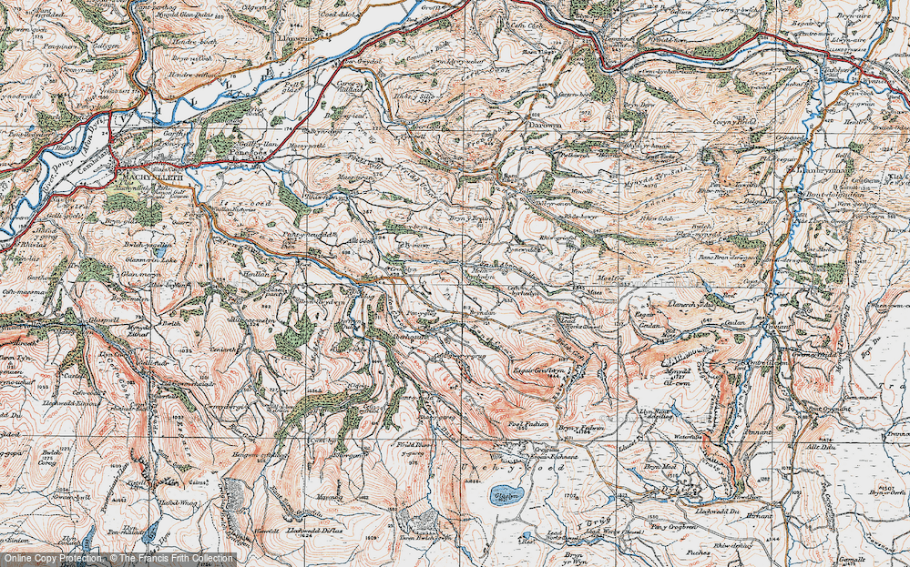 Old Map of Historic Map covering Bacheiddon in 1921
