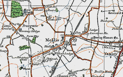 Old map of Yaxley Manor House in 1920