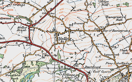 Old map of Mellor in 1924